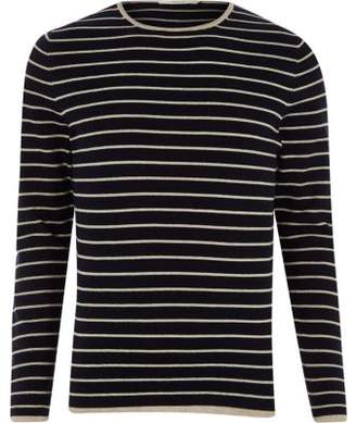 River Island Jack and Jones navy knit stripe sweater
