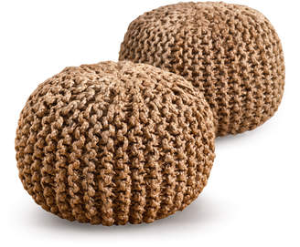 N. Saro Natural Decorative Pouf