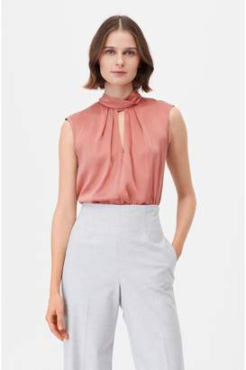 Rebecca Taylor Tailored Silk Charmeuse Mock Neck Top
