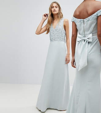 Maya Sleeveless Sequin Bodice Maxi Dress With Cutout And Bow Back Detail
