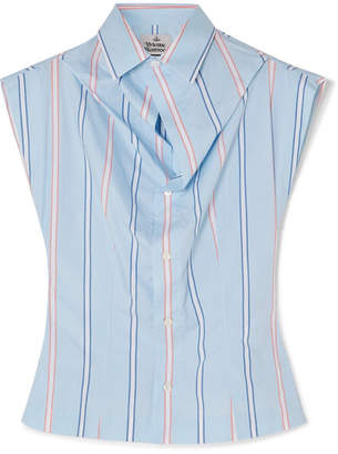 Vivienne Westwood Draped Striped Cotton Shirt - Blue