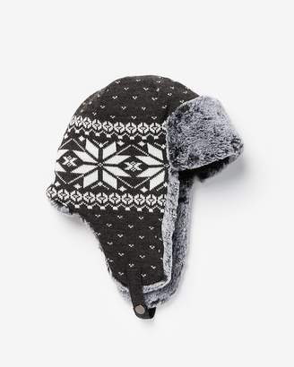 Express Gray Fair Isle Trapper Hat