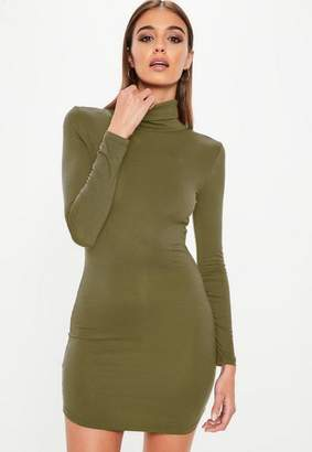 Missguided Khaki Turtle Neck Long Sleeve Curve Hem Bodycon Dress