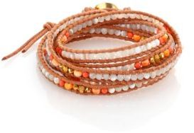 Chan LuuChan Luu Mother-Of-Pearl, Faux Lion's Paw Pearl & Leather Multi-Row Beaded Wrap Bracelet