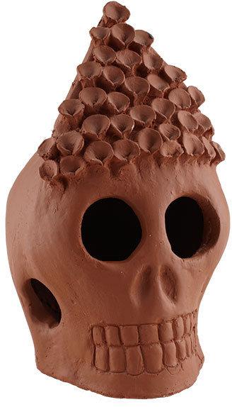 Day of the Dead Terracotta Skull - Pointed Headdress