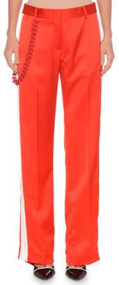 MSGM Side-Stripe Satin Pants w/ Chain Detail
