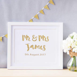 Altered Chic Personalised Mr And Mrs Glittered Paper Cut Art