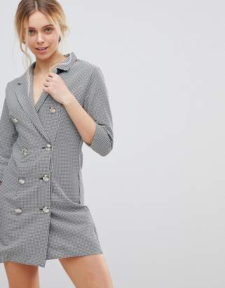 Girls On Film Blazer Dress In Dogtooth