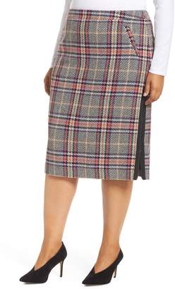 Halogen Plaid Pencil Skirt