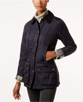 Barbour Beadnell Polarquilt Plaid-Trim Utility Jacket $275 thestylecure.com