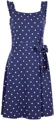 Dorothy Perkins Womens Navy Spot Print Ruffle Tie Detail Camisole Dress