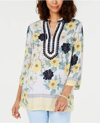 Charter Club Printed Embroidered Split-Neck Tunic