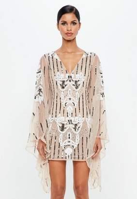 Missguided Nude Kimono Sleeve Embellished Plunge Dress