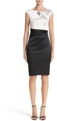 Talbot Runhof Colorblock Satin Duchesse Sheath Dress