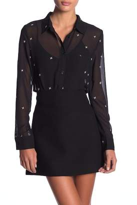 Honey Punch Star Pattern Front Button Sheer Blouse