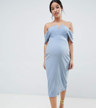f11b72769b347 Asos DESIGN Maternity v bar textured midi bodycon pephem dress