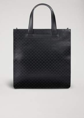 Emporio Armani Leather Tote Bag With Shoulder Strap And All-Over Logo Print