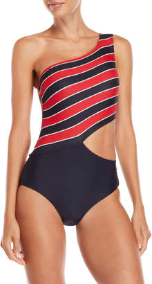 MICHAEL Michael Kors Stripe Cutout One-Piece Swimsuit