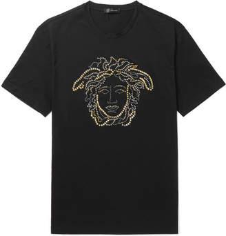 Versace Logo-Embellished Cotton-Jersey T-Shirt - Black