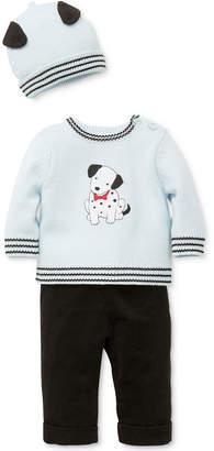 Little Me 3-Pc. Cotton Hat, Dalmatian Sweater & Pants Set, Baby Boys