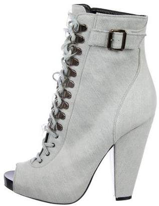 Givenchy Denim Lace-Up Ankle Boots