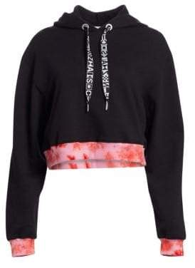 Proenza Schouler PSWL PSWL Women's Tie-Dye Band Cropped Cotton Hoodie - Black - Size XS