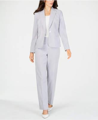 Le Suit Single-Button Seersucker Pantsuit