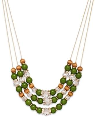 INC International Concepts Gold-Tone Green Three-Row Frontal Necklace