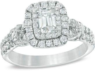 Zales Celebration GrandA 1-1/6 CT. T.W. Emerald-Cut Diamond Frame Engagement Ring in 14K White Gold (I/I1)