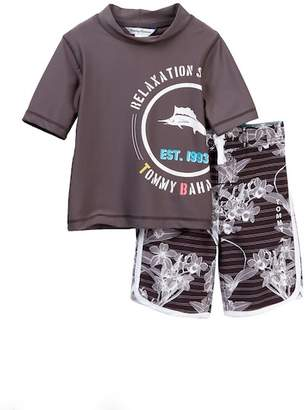Tommy Bahama Hibiscus Rashguard Top & Board Shorts Set (Little Boys)