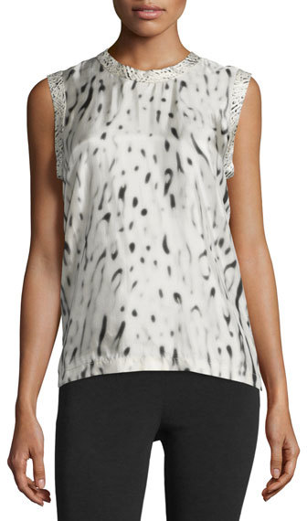 Calvin KleinCalvin Klein Sleeveless Printed Viscose Top, Beige