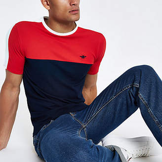 River Island Mens Navy muscle fit colour block T-shirt