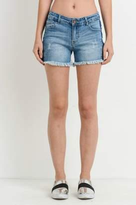 Black Label Denim Frayed Shorts