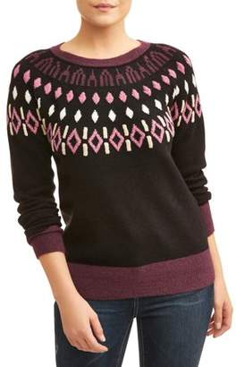 Time and Tru Women's Fair Isle Pullover Sweater