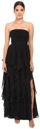 Adrianna Papell Strapless Chiffon Ruffle Gown Women's Dress