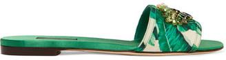Dolce & Gabbana - Swarovski Crystal-embellished Printed Satin Slides - Green $945 thestylecure.com