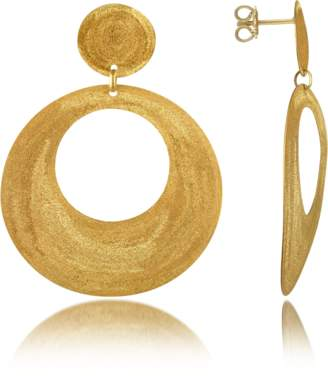Stefano Patriarchi Golden Silver Etched Round Cut Out Drop Earrings