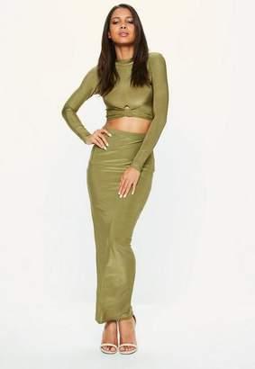 Missguided Khaki Disco Slinky Midaxi Skirt