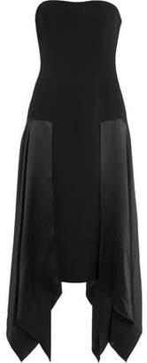 Cinq à Sept Strapless Draped Silk-Paneled Crepe Midi Dress