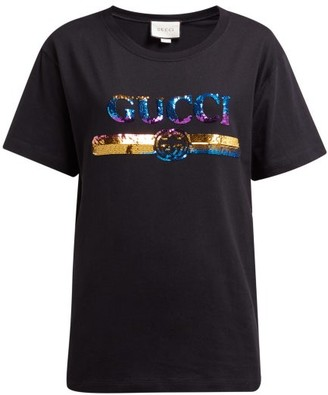 Gucci Logo Sequin Embellished Cotton Jersey T Shirt - Womens - Black Multi