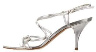 Casadei Leather Metallic Sandals Silver Leather Metallic Sandals