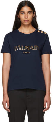 Balmain Navy Logo T-Shirt