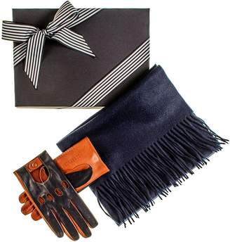 Black Navy and Tobacco Driving Gloves and Navy Cashmere Scarf Gift Set