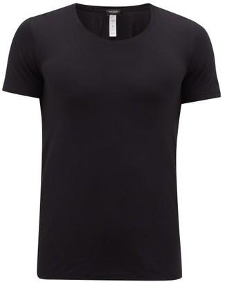 Hanro Crew Neck Stretch Cotton Jersey T Shirt - Mens - Black