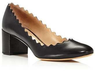 Chloé Women's Lauren Scalloped Block-Heel Pumps