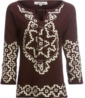 A.N.A Split Bell Sleeve Embroidered Tunic with Tassles - Women's