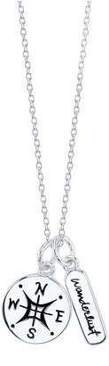 """Unwritten Wanderlust"""" compass double pendant necklace in sterling silver, 16"""" + 2"""" Chain, .57"""" Pendant"""