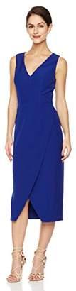 Social Graces Women's V-Neck Overlap Skirt Stretch Crepe Back Cut-Out Pencil Dress