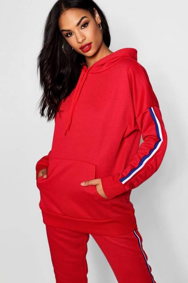 Buy Woman Sports Striped Sleeve Hoody!