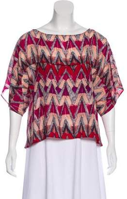 See by Chloe Printed Silk Short-Sleeve Top